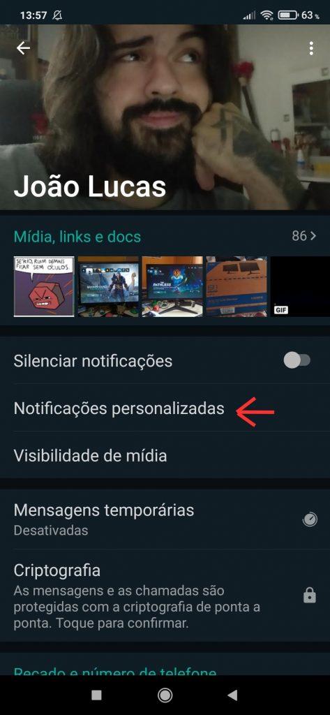 Personalize os alertas de mensagens