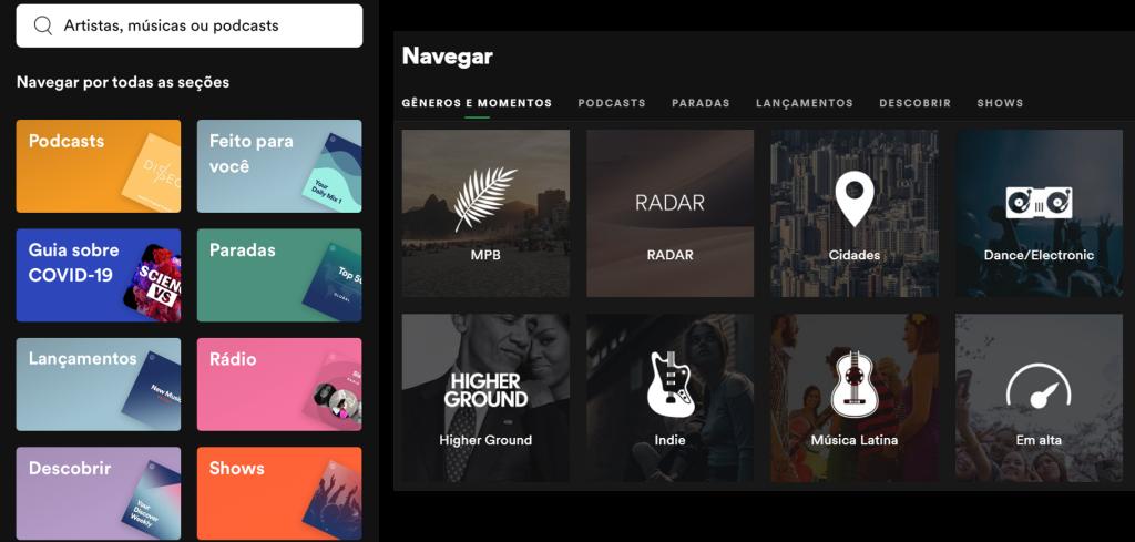Telas do spotify no computador e aplicativo com categorias para descobrir