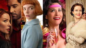 Séries da netflix : lúcifer, o gambito da rainha, glow e the crown.