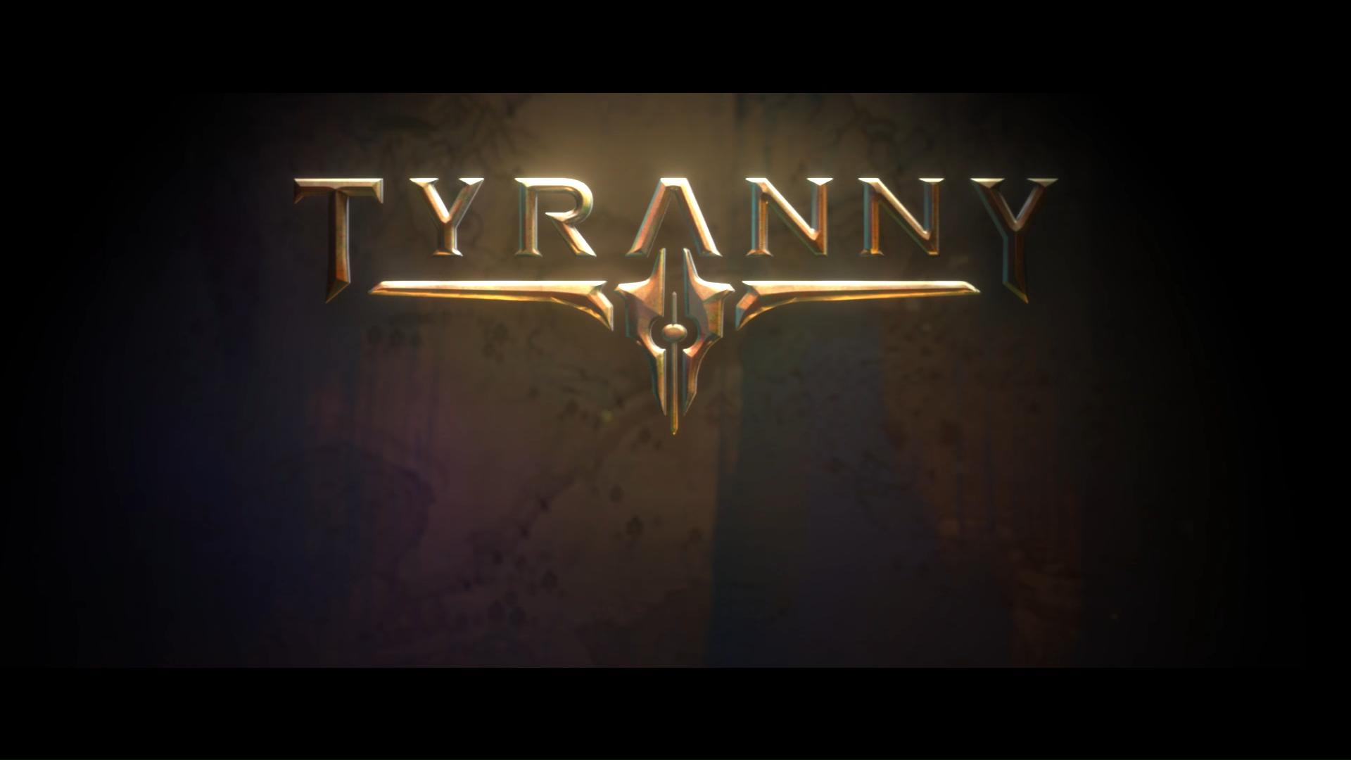 Logo de anúncio do jogo tyranny, da obsidian e publicado pela paradox