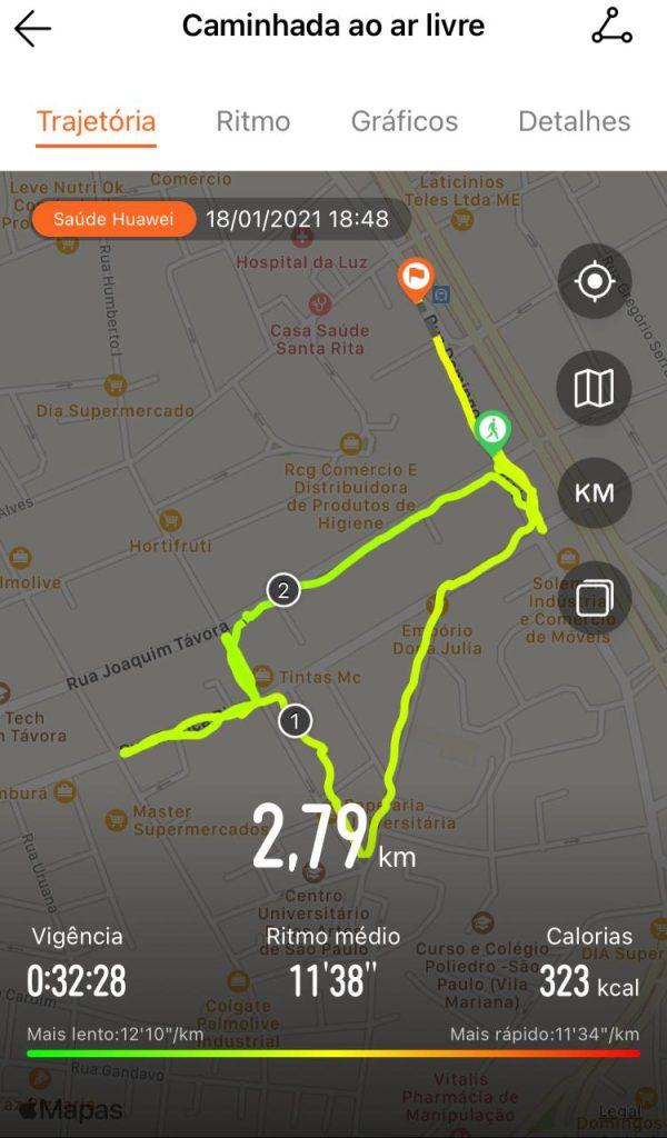 Caminhada detalhada huawei watch gt 2e