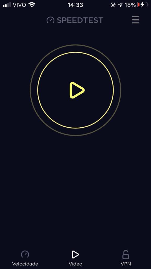 Teste de velocidade para streaming de vídeo disponível para iphones por meio do aplicativo speedtest