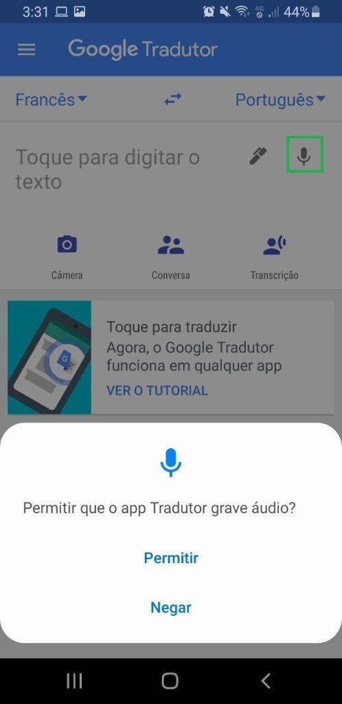 Traduzir a partir de áudio é possível no aplicativo.