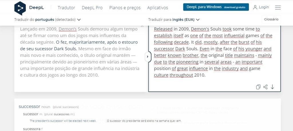 Interface do deepl