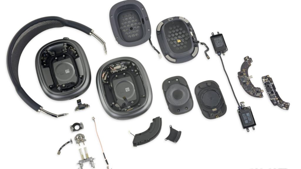 Airpods max completamente desmontado, mostrando todos seus componentes