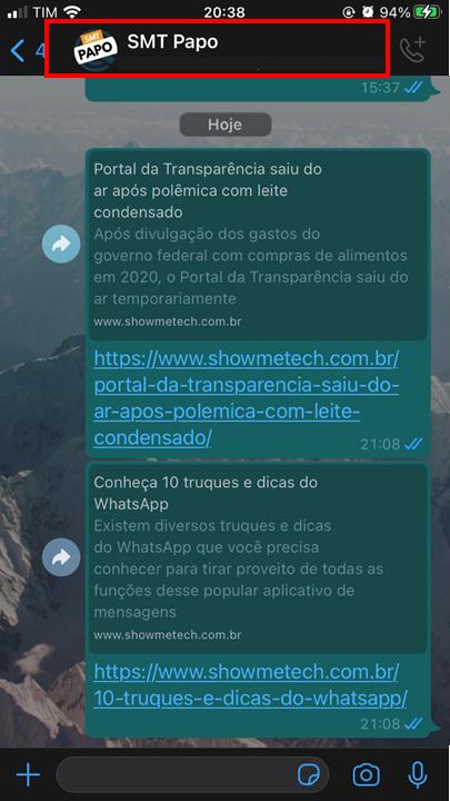 Primeiro passo para exportar conversas do whatsapp para o telegram