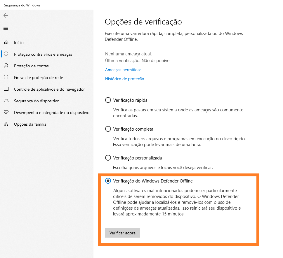 Opções de verificação do windows