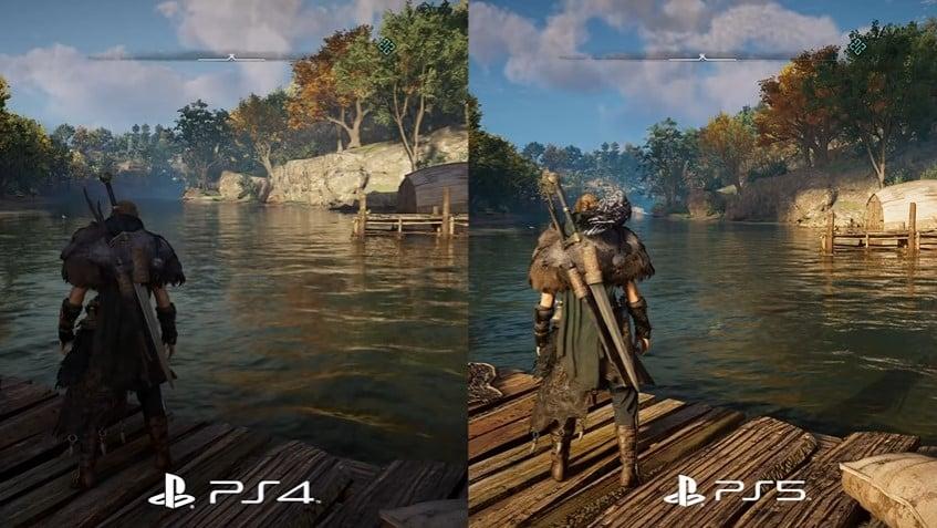 Assassins creed vallhalla comparação da versão de ps4 com a versão de upgrades gratuitos para ps5