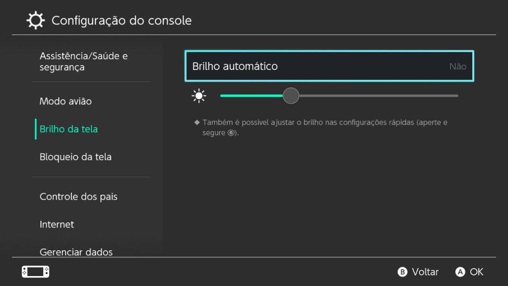 Tela de configurações de brilho do nintendo switch