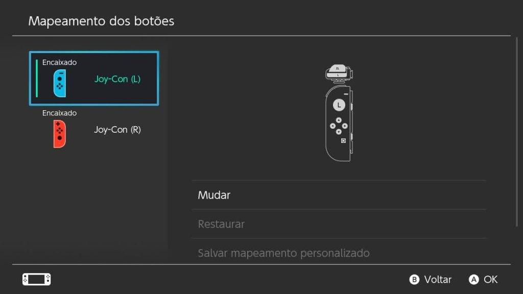 Tela de configurações dos botões do nintendo switch