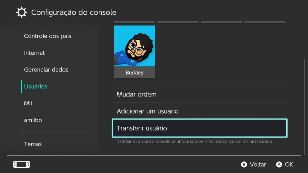 Tela de configurações de usuário do nintendo switch