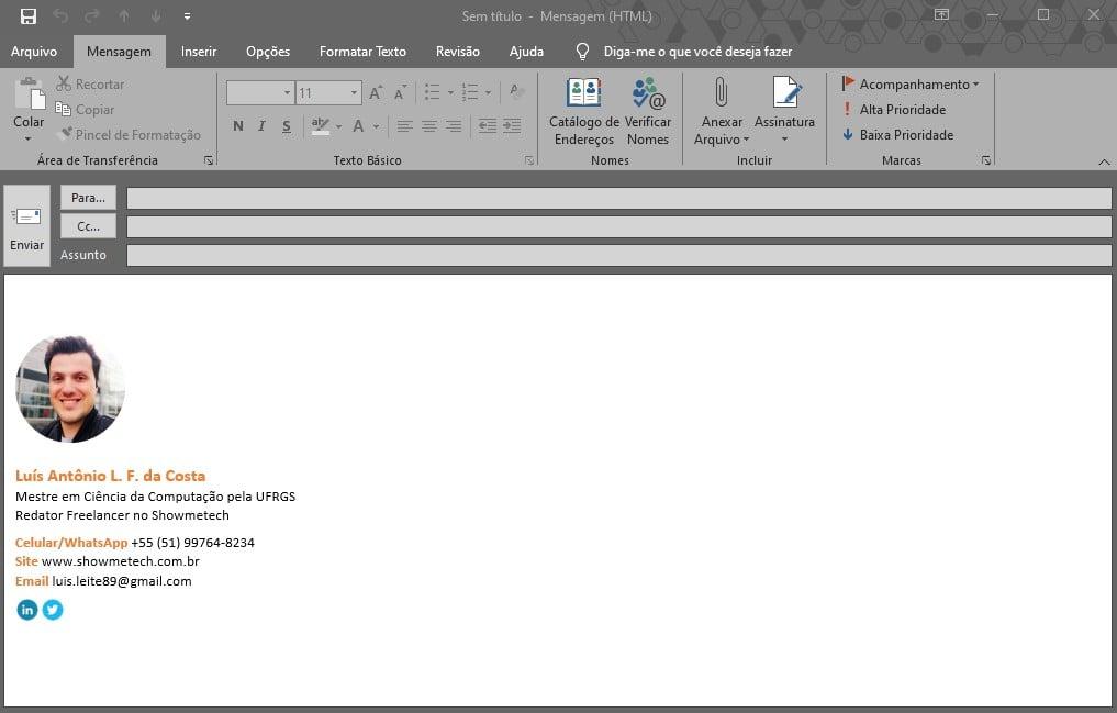 Criação de novo e-mail