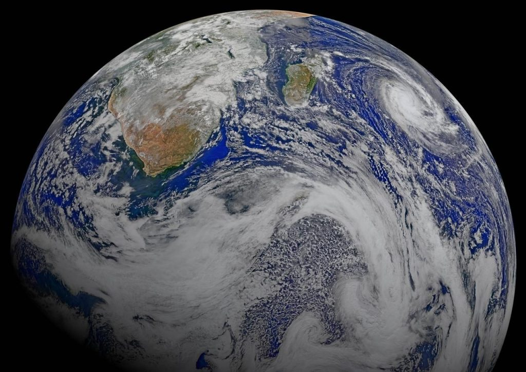 A terra vista do espaço, mais ou menos na região da áfrica do sul