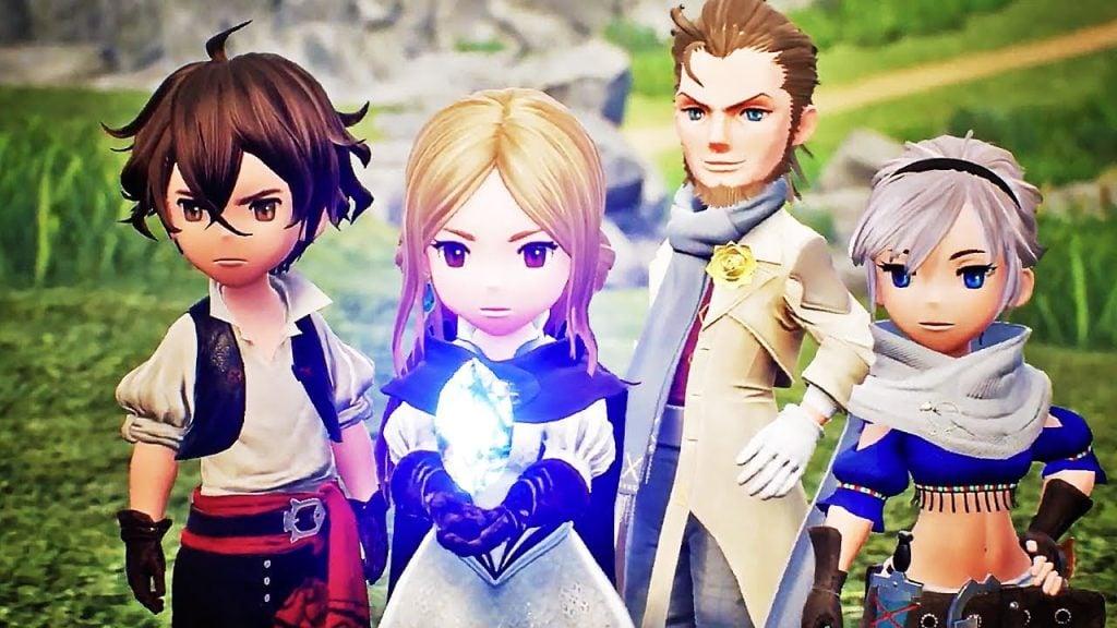 A imagem mostra os personagens principais em classes distintas em posse de um dos cristais.