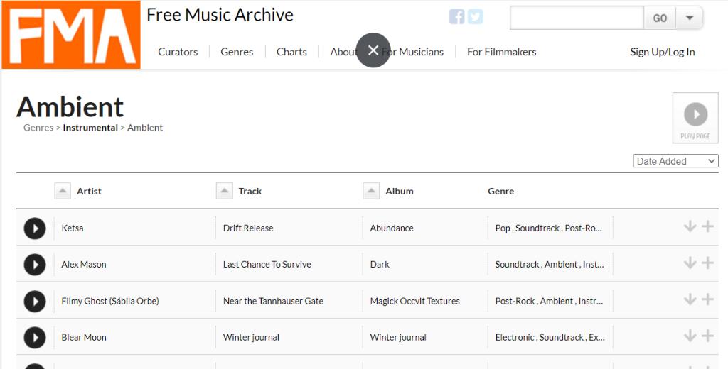Free music possui um vasto catálogo de títulos gratuito, que inclui as músicas ambiente