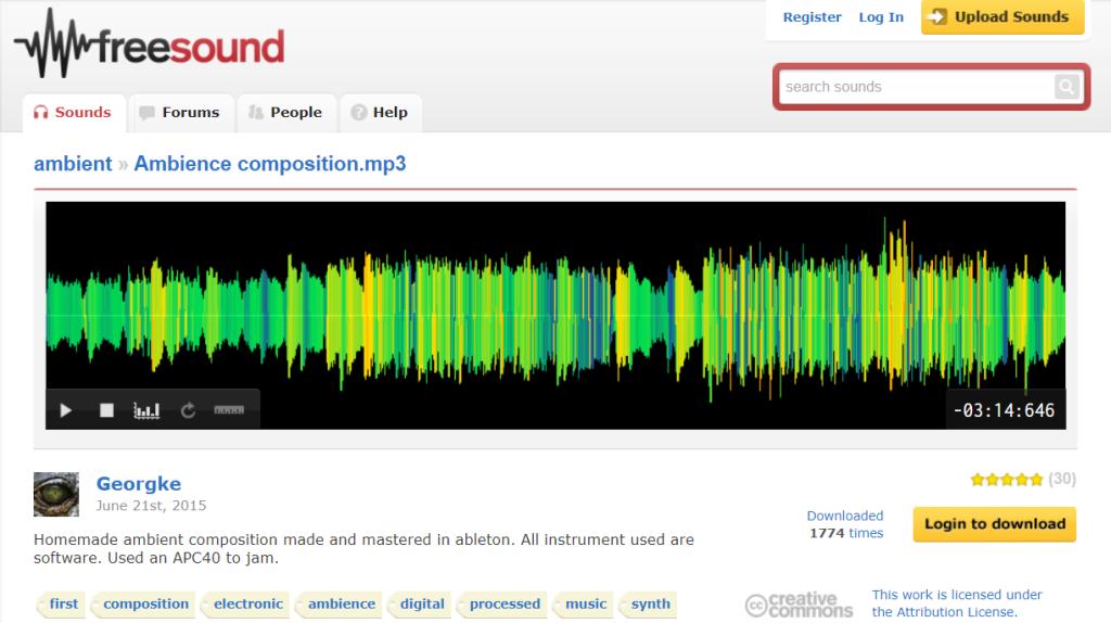 Freesound permite download das músicas ambiente