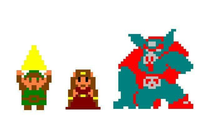 Link do lado esquerdo da imagem, de verde segura, um dos pedaços da triforce, zelda no centro, vestindo sua roupa real, enquanto ganon está na esquerda, com traços que se assemelham a uma mistura de um humano com um porco.