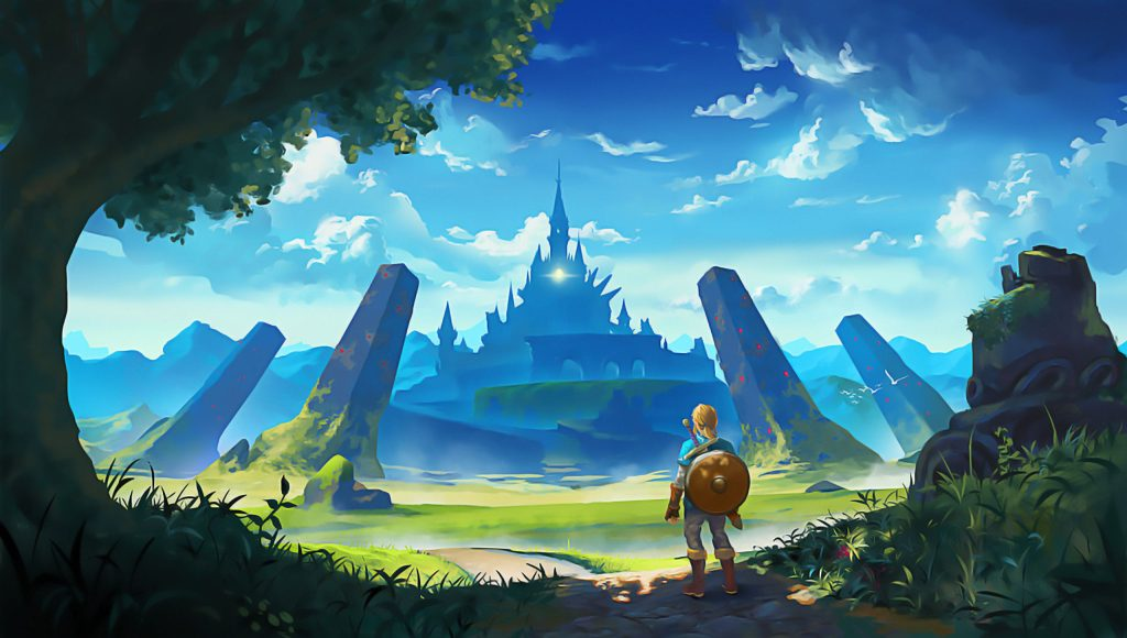 Link olha para o castelo e encara a dificuldade que terá que superar.