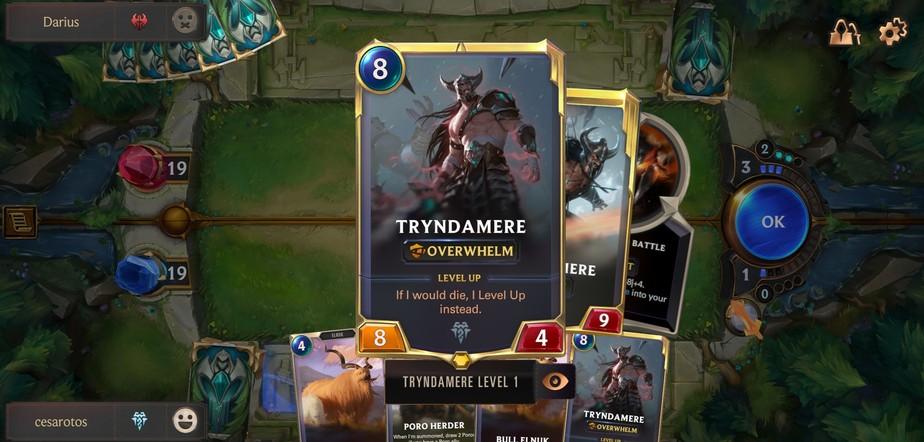 Uma carta contendo o campeão do lol, tryndamere, no jogo legends of runeterra