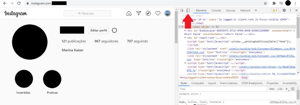 Clique no ícone de celular na janela de códigos