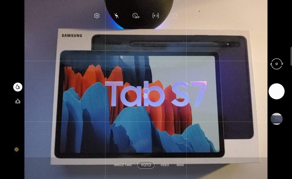 Interface da câmera do tab s7