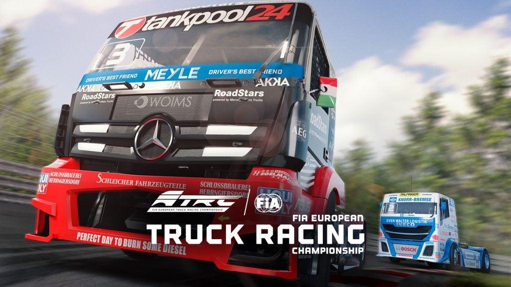Uma intensa corrida entre caminhões é mostrada na imagem.