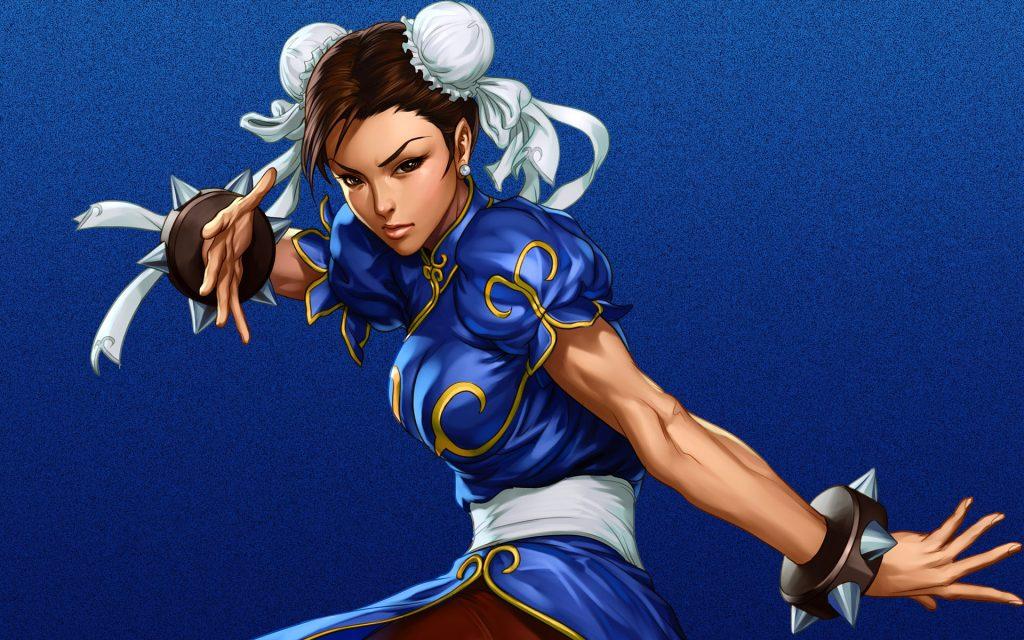 Chun-li faz uma pose do seu estilo de luta favorito.