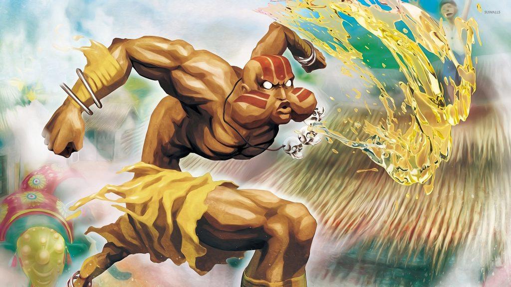 Dhalsin libera uma bola de fogo em direção ao seu adversário.
