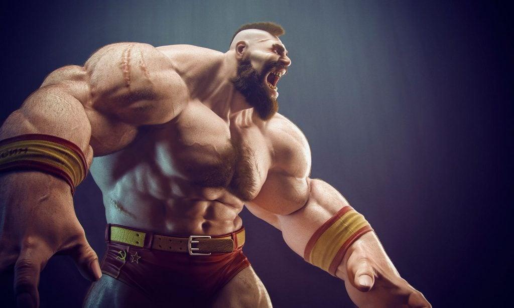 Zangief mostra seus poderosos músculos.