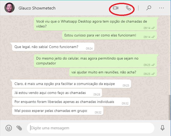 Chamada de voz e vídeo no whatsapp desktop