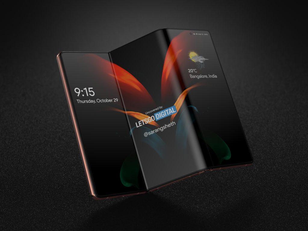 Design de galaxy z fold 3, smartphone com duas dobras da samsung