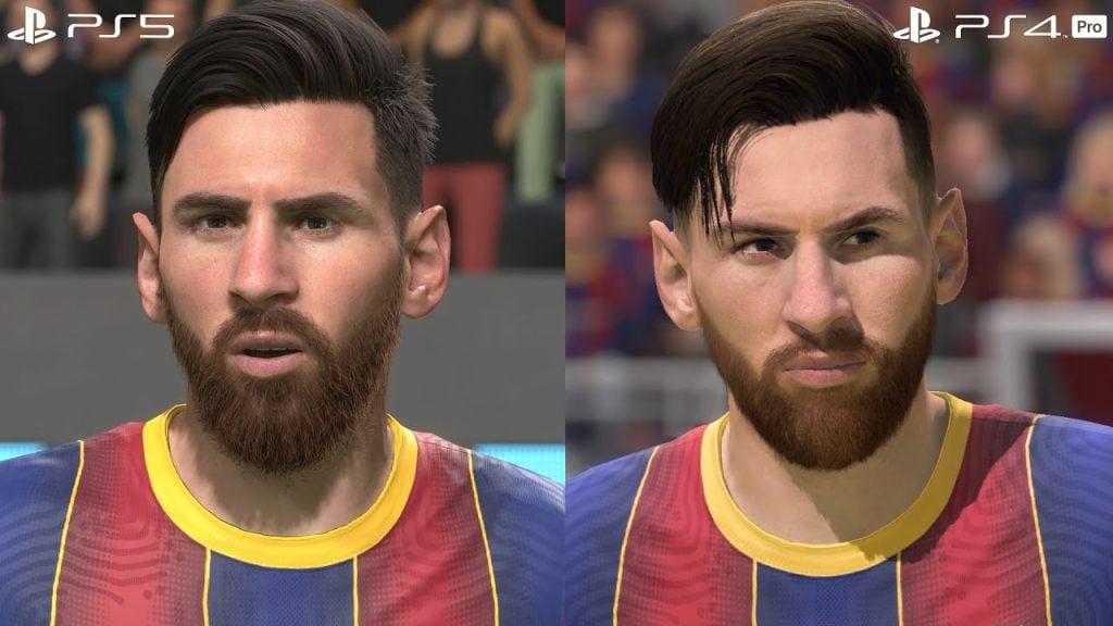 Comparação de barba e cabelo entre as versões de ps4 e ps5 de fifa 21