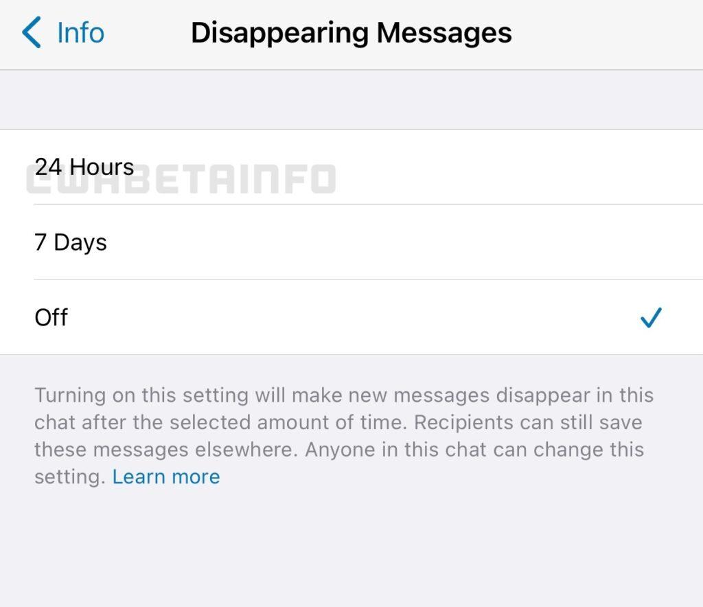 Mensagens temporárias de 24h