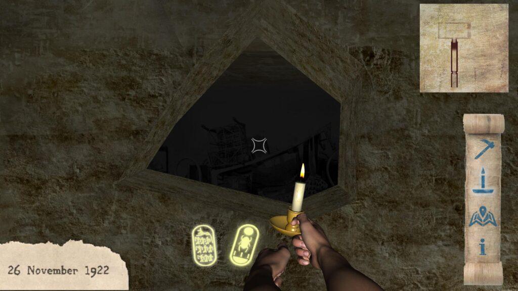 Explorador ilumina a tumba de tutancâmon.