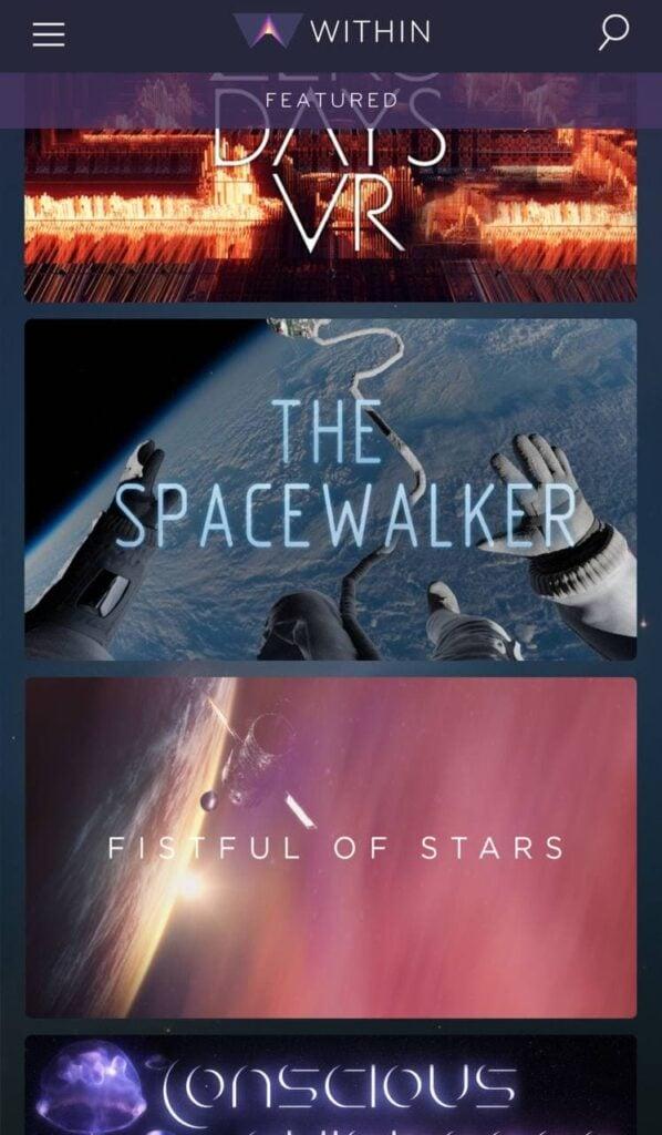 Página do app sugere vídeo de caminhada espacial.