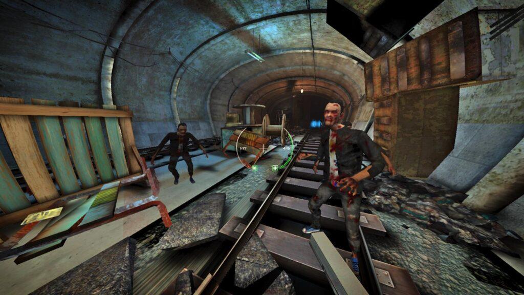 Zumbis encaram o jogador sobre um trilho de trem subterrâneo em apps de realidade virtual.