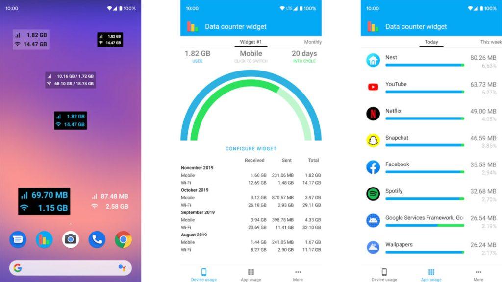 O widget data counter mostra como cada aplicativo consome o plano de dados móveis do celular