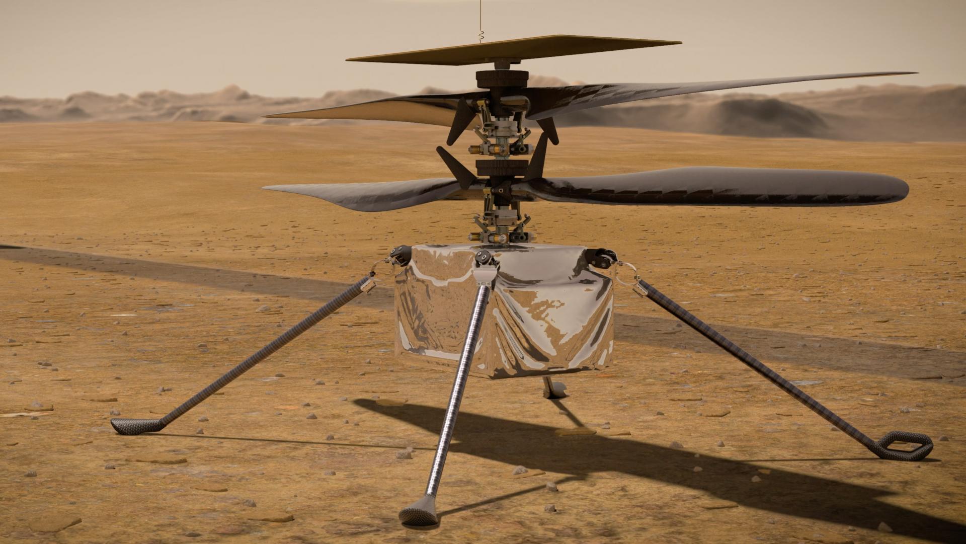 Helicóptero da nasa em marte completa primeiro voo. Ingenuity completa seu primeiro voo no planeta vermelho; testes com o helicóptero da nasa em marte afirmam a viabilidade de voos na atmosfera rarefeita