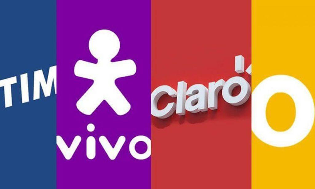 Uma imagem com os logos das operadoras de telefonia celular do brasil.