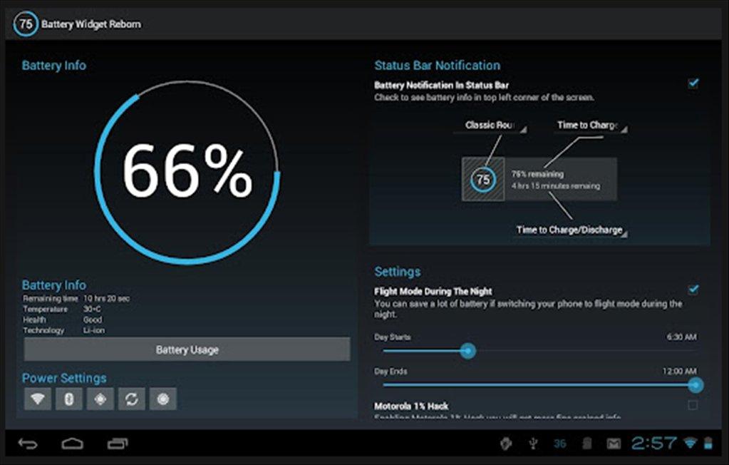 Battery widget reborn produz um gráfico do tempo restante de bateria no aparelho