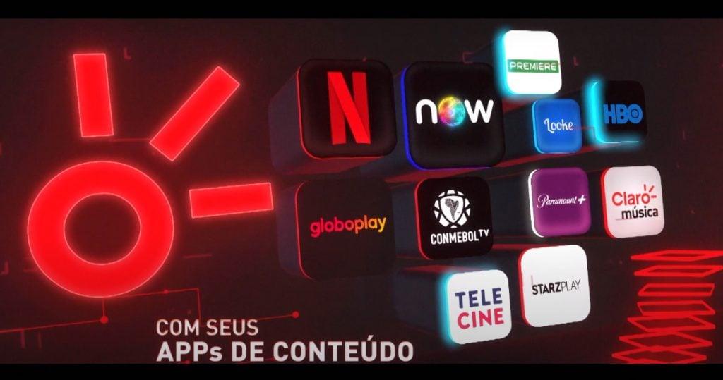 A imagem mostra os aplicativos que estão presentes no claro box tv.