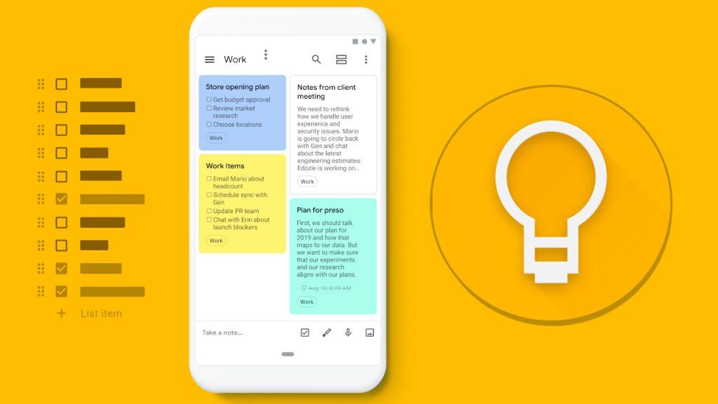Keep notes é um widget que, além de anotações, permite criação de listas e adicionar fotos