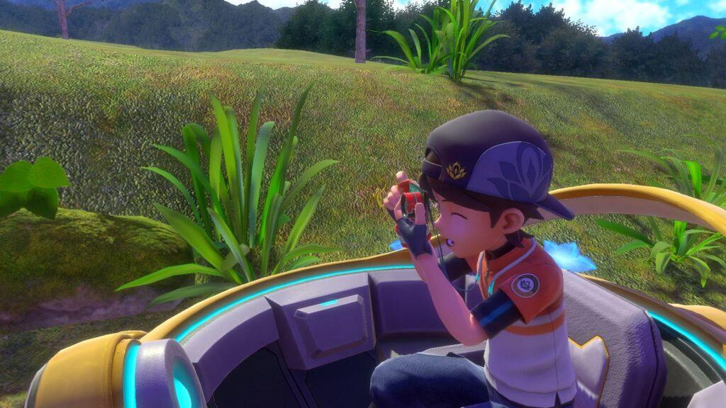 A cena mostra o avatar do jogador em new pokémon snap