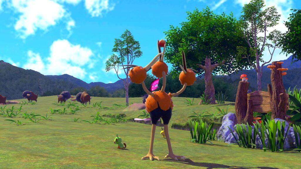 A cena mostra um pokémon ao centro com diversos outros ao fundo.