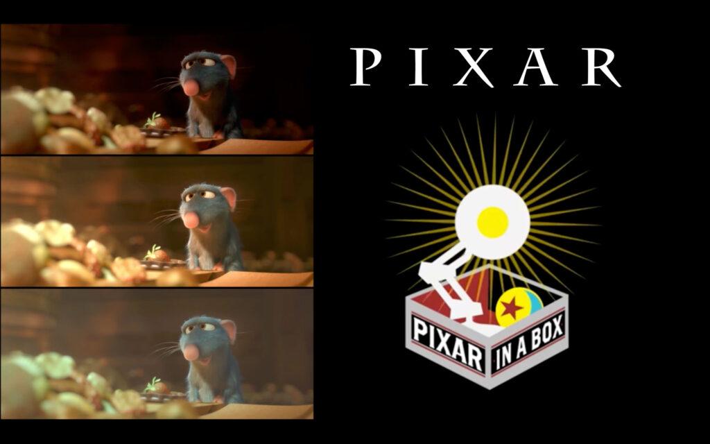 """Logo do curso """"pixar in a box"""" com diferentes exemplos de uso de cores e iluminação."""