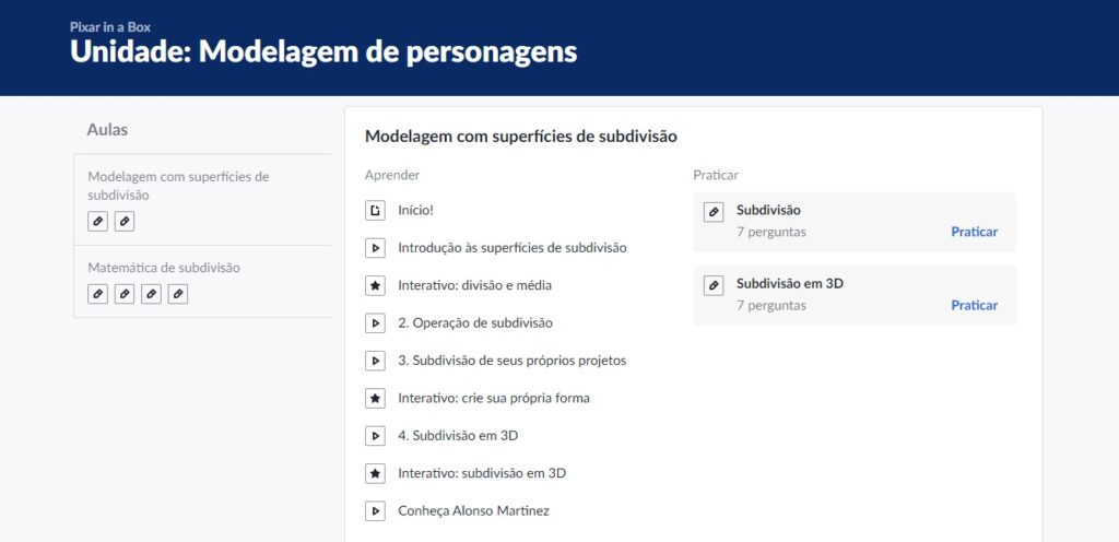 Interface do um módulo no navegador.