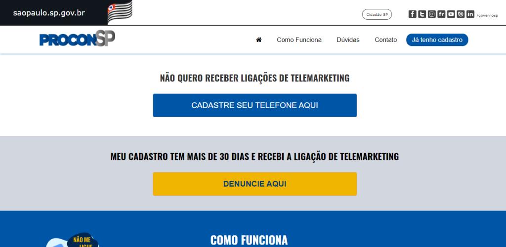 Vários procons oferecem a possibilidade de bloquear as ligações de telemarketing no site