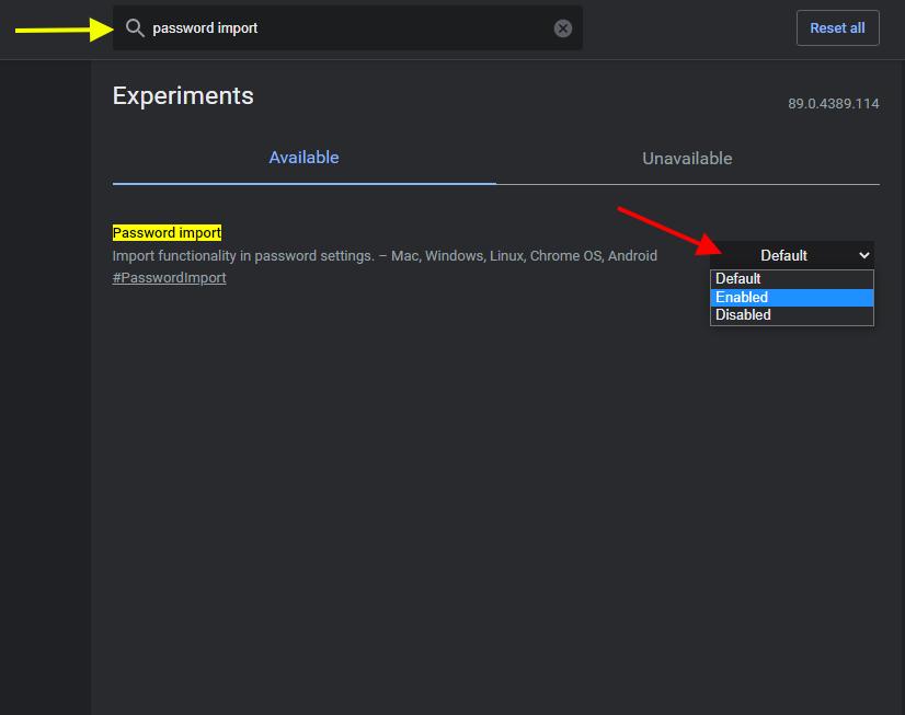 Nessa tela temos enfim a opção de ativar a função de exportar as senhas salvas no google chrome