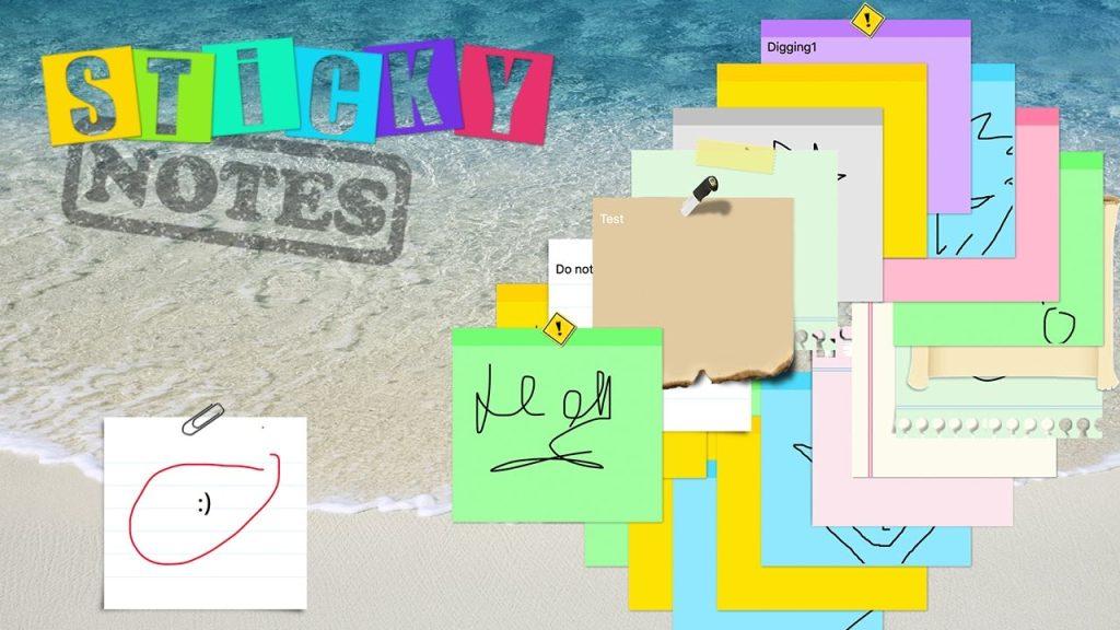 Sticky notes permite que, além de escrever, também desenhar bilhetinhos