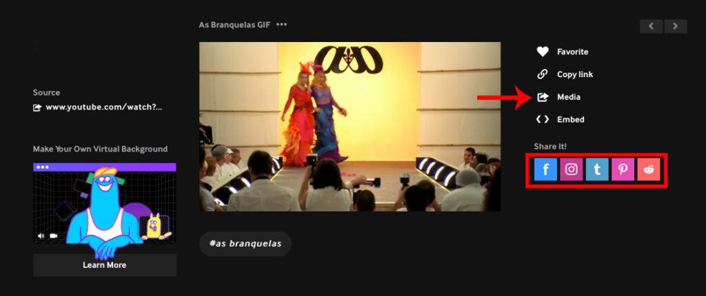 Captura de tela do site giphy! À esquerda, o vídeo com cena do filme as branquelas. À direita, opções para compatilhar o gif